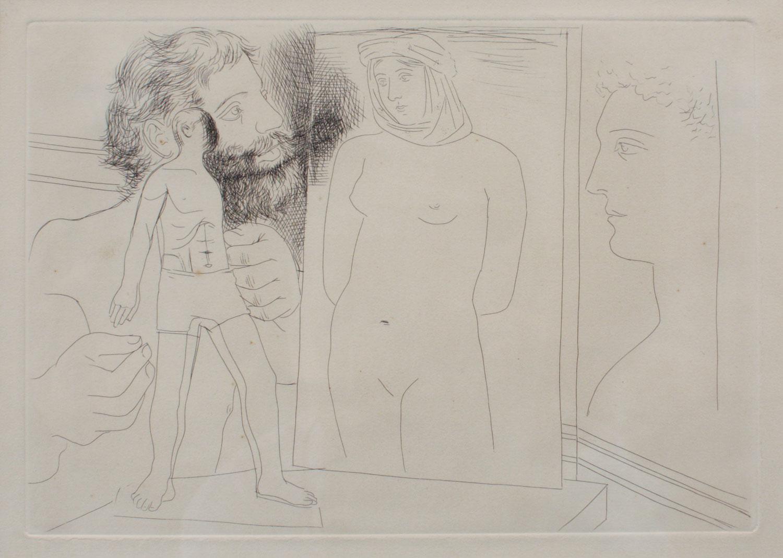 Sculpteur avec sculpture et d'autres oeuvres, Pablo Picasso