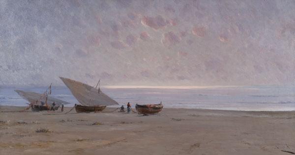 Tres barques a la platja, Modest Urgell