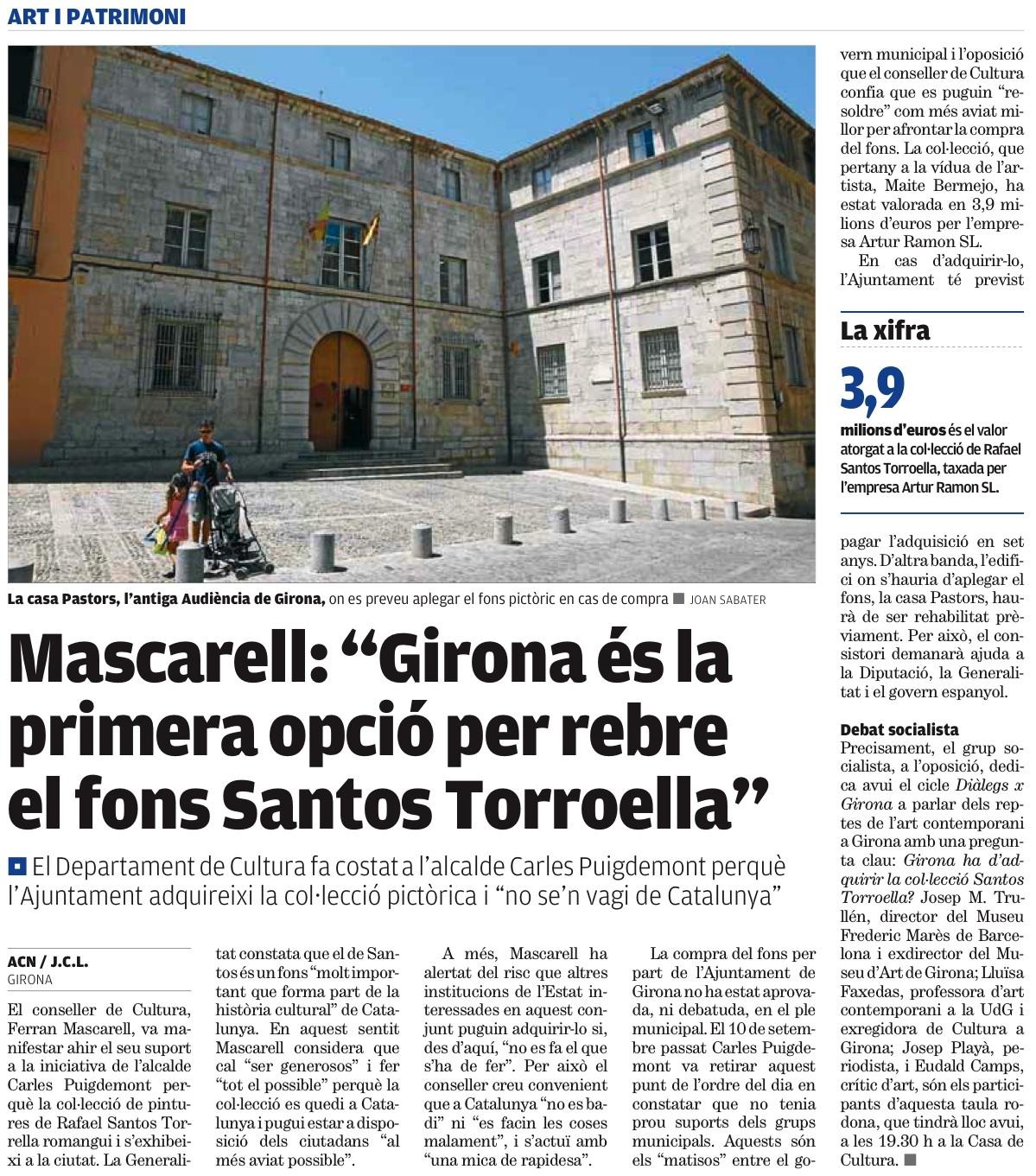 """El Punt Avui – Mascarell: """"Girona és la priemra opció per rebre el fons Santos Torroella"""""""