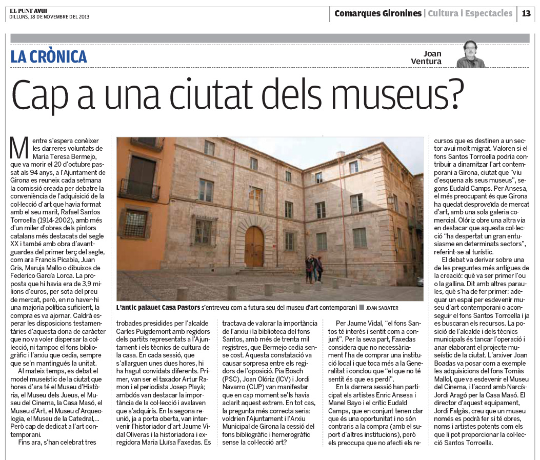 Cap a una ciutat dels museus? (El Punt Avui)