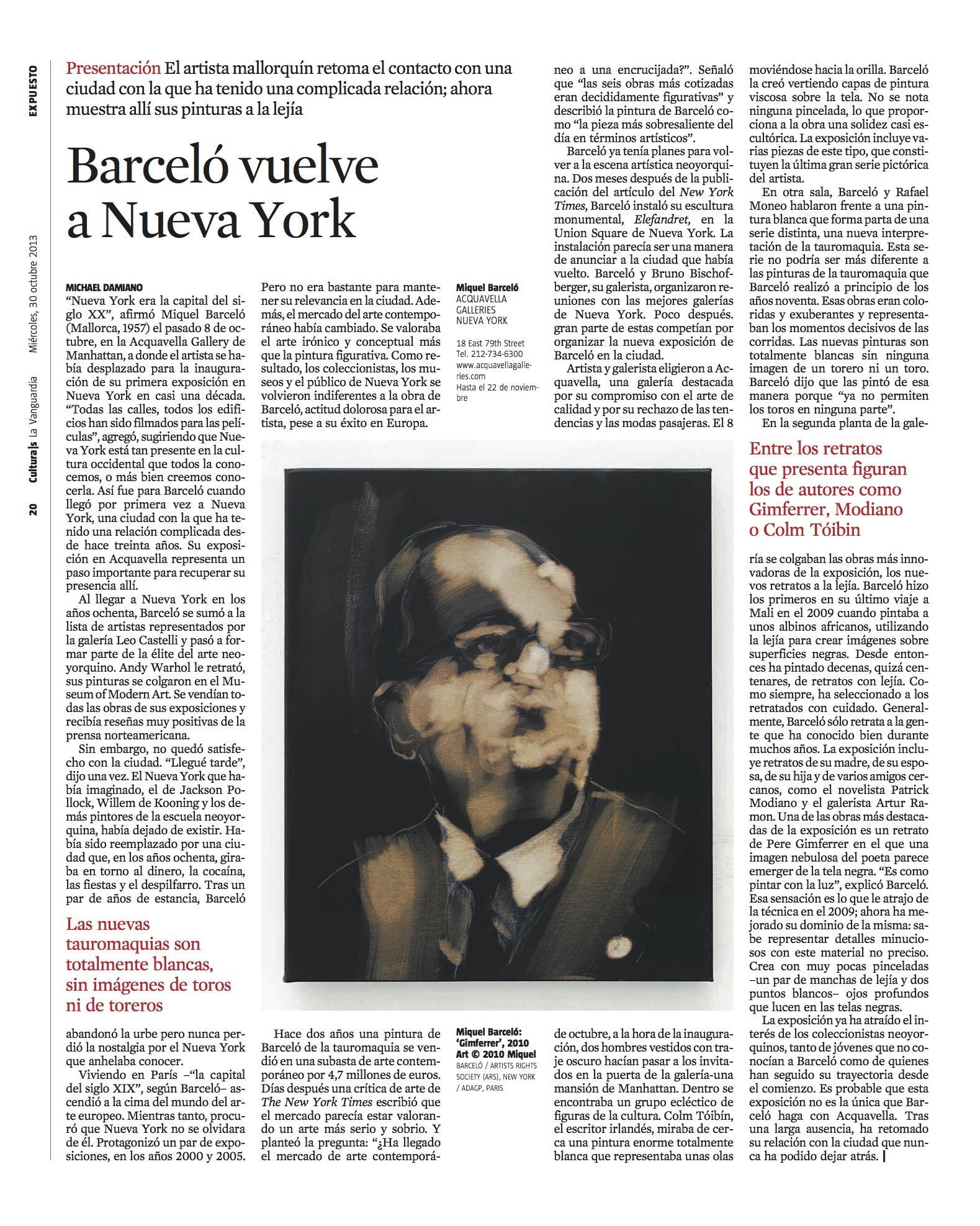 Barceló vuelve a Nueva York (La Vanguardia)