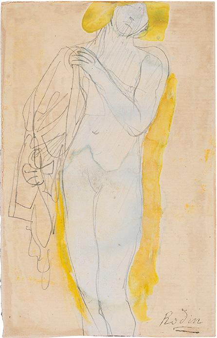 Femme nue à la chevelure blonde tenant un costume (à l'antique?), Auguste Rodin