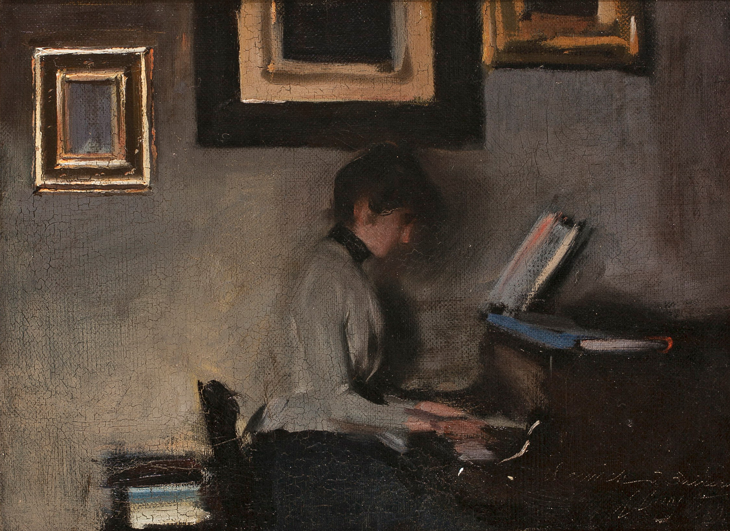 Elisa Casas playing the piano, Ramon Casas