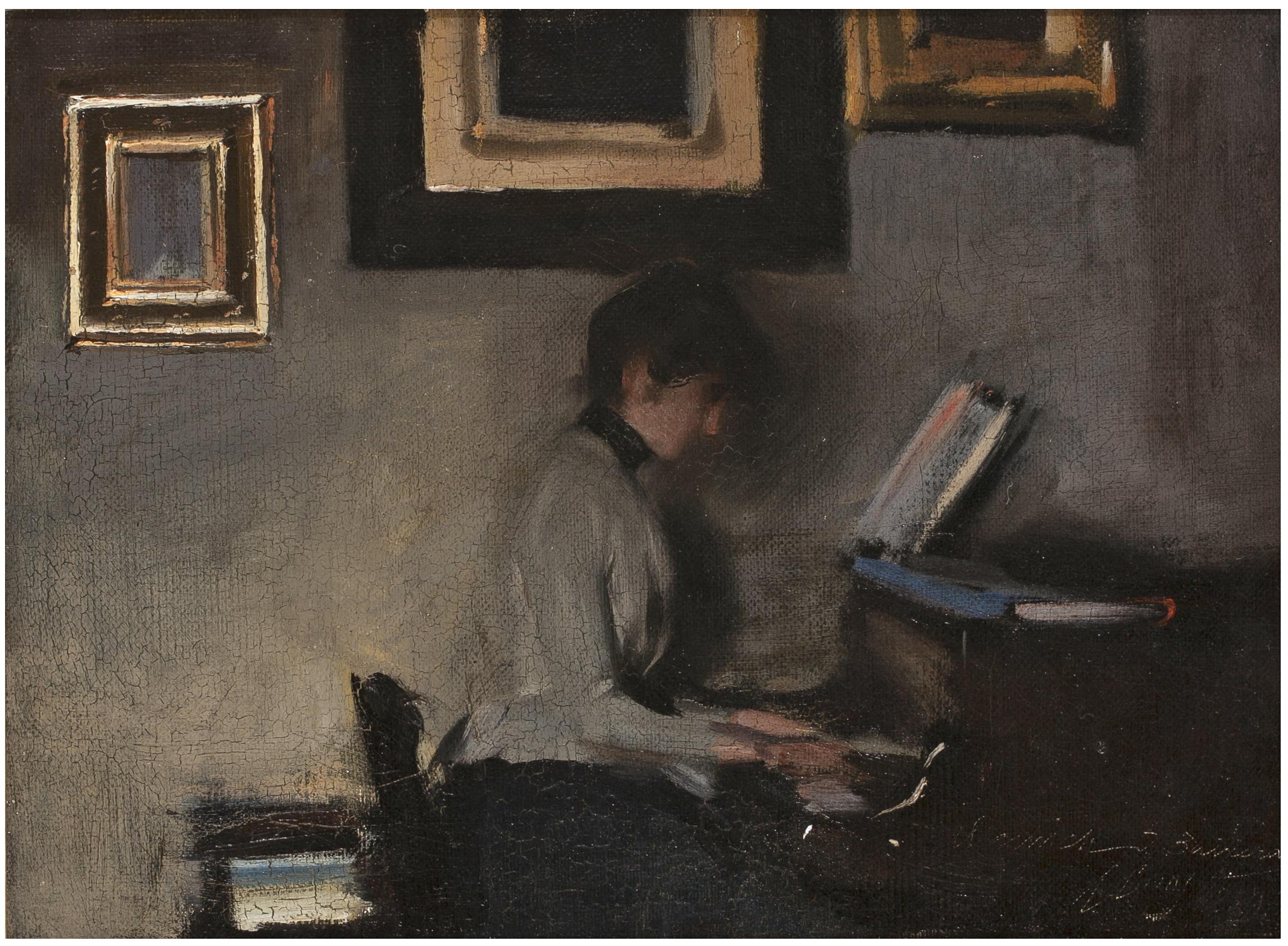 elisa casas tocant  el piano , ramon casas
