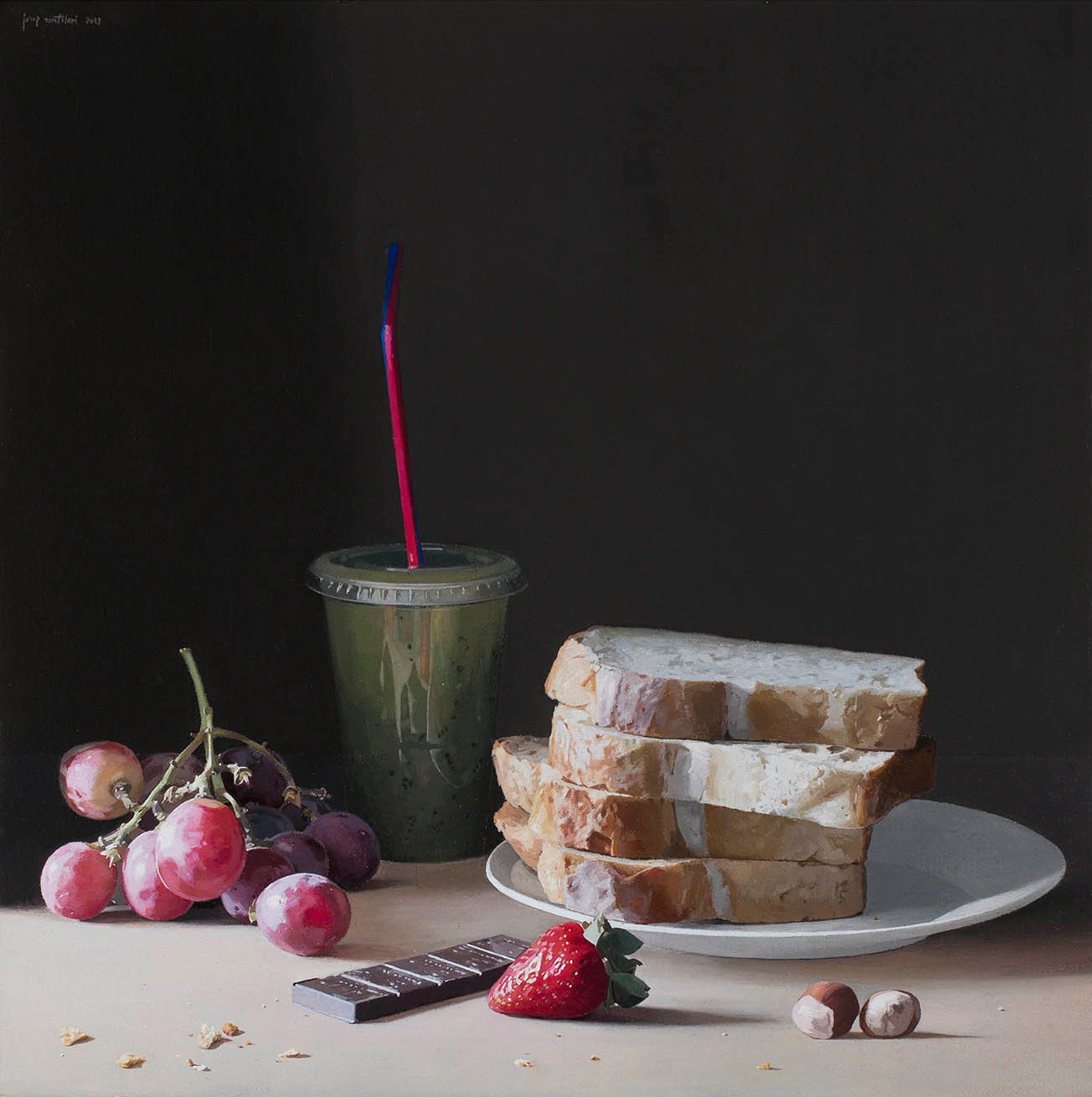 Still life with grapes, chocolate, bread and kiwi juice, Josep Santilari