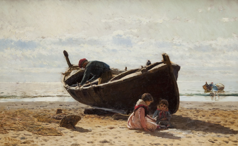 Barca, pescadors i nens a la platja, Dionís Baixeras