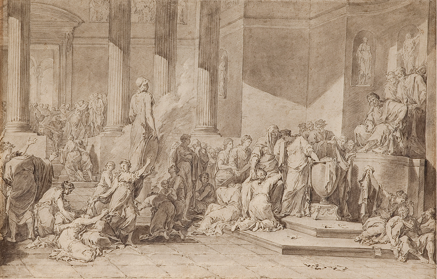 The offering of the hundred maidens to the goddess Minerva, Luís López Piquer