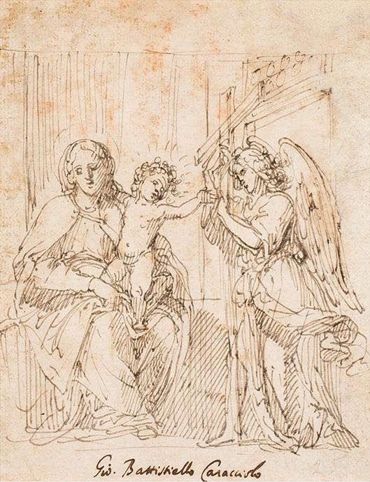 Virgin with Child and angel carrying a cross, Giovanni Battista Caracciolo detto Battistello