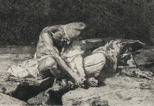 Àrab vetllant el cadàver del seu amic