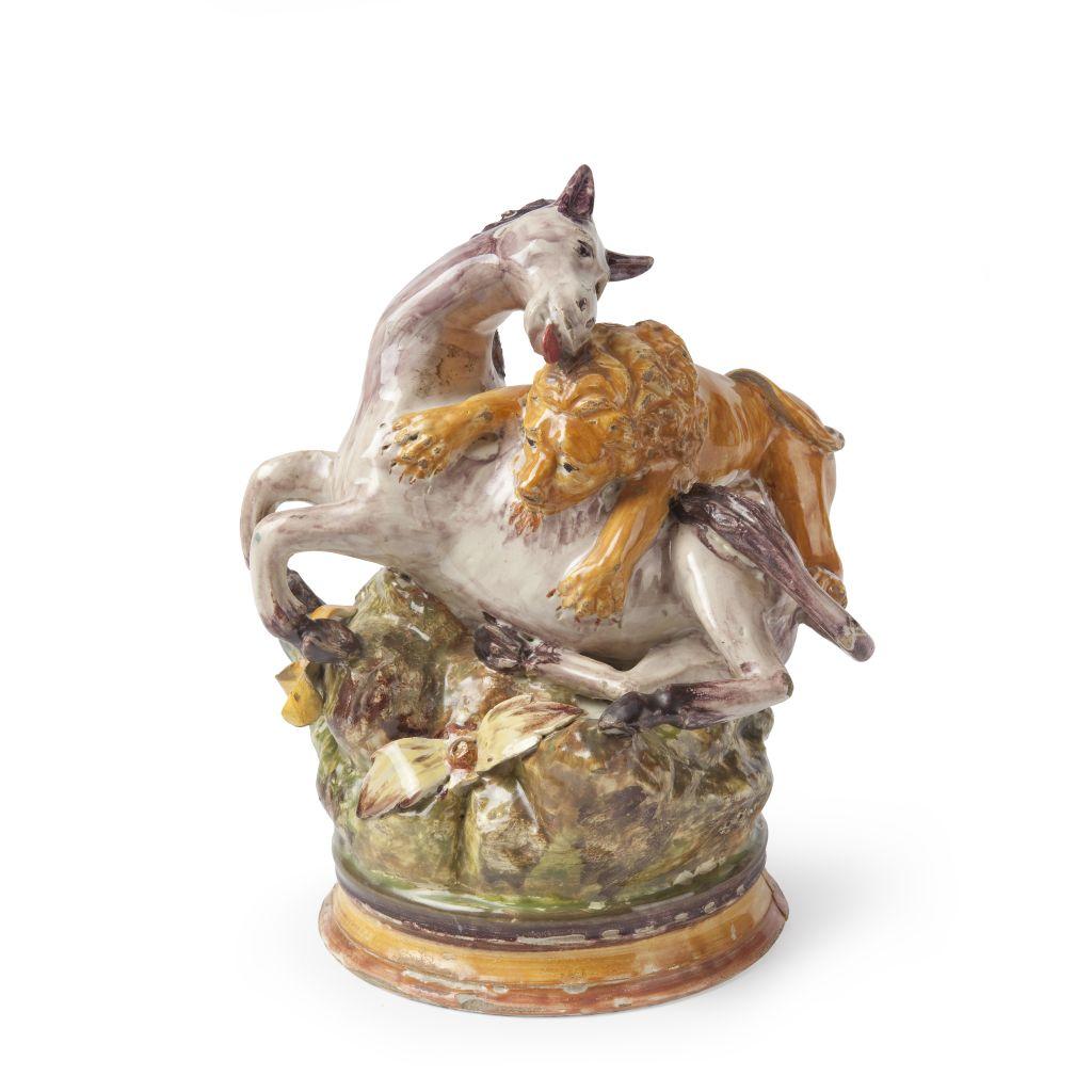 Lleó atacant a un cavall, Alcora