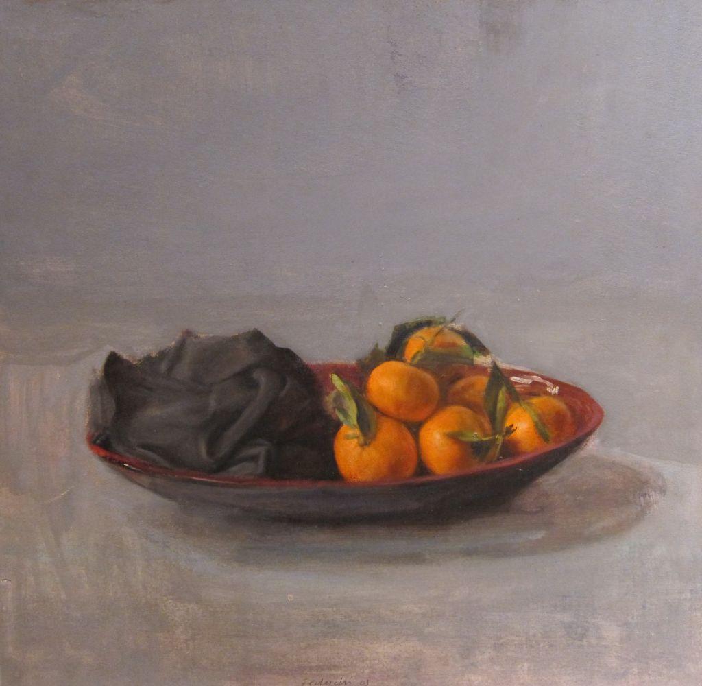 Natura morta amb mandarines i tela negra, Leticia Feduchi