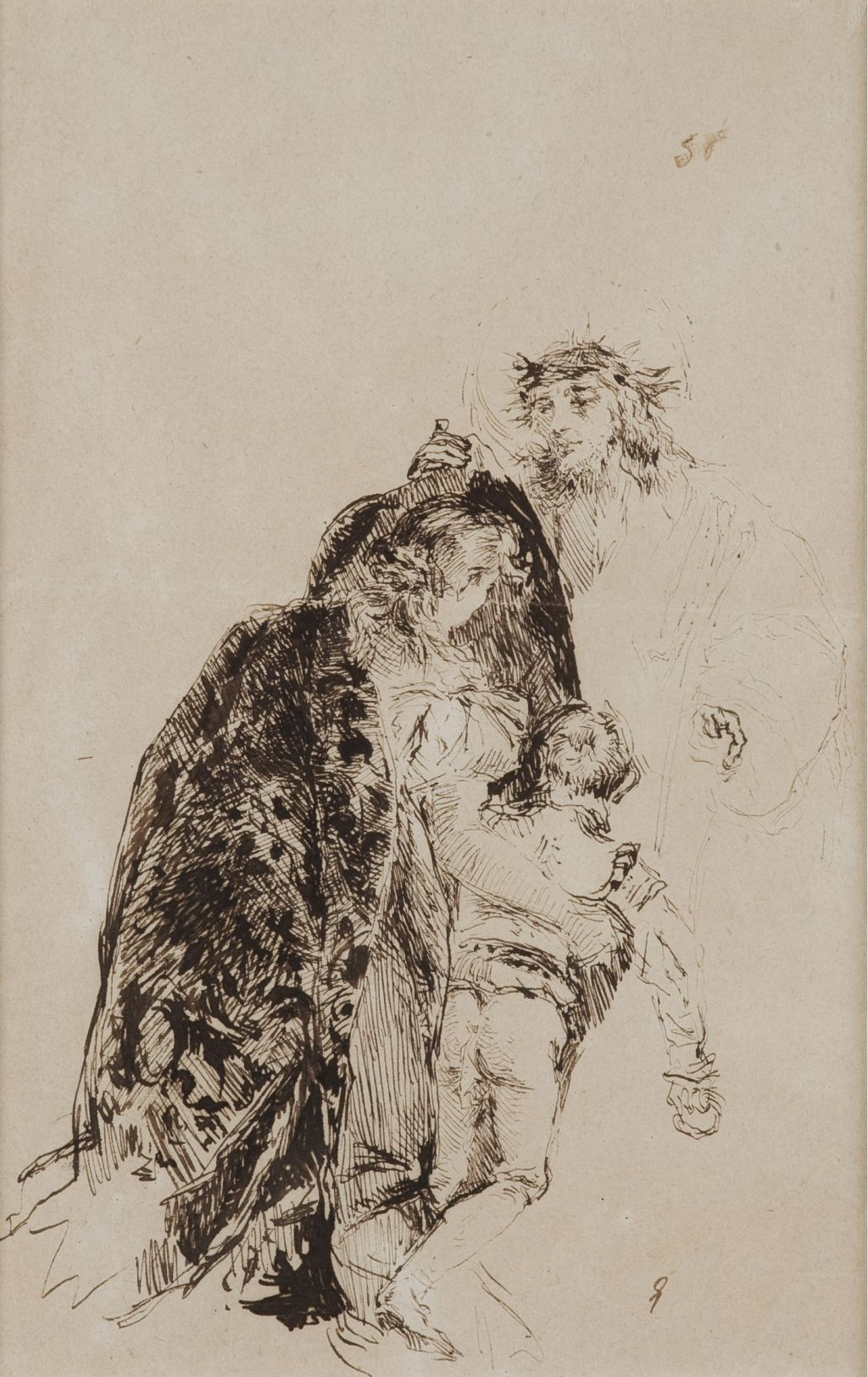 """Estudi de la """"VIII Estació del Vía Crucis"""" del gravat de Giandomenico Tiepolo, Marià Fortuny"""