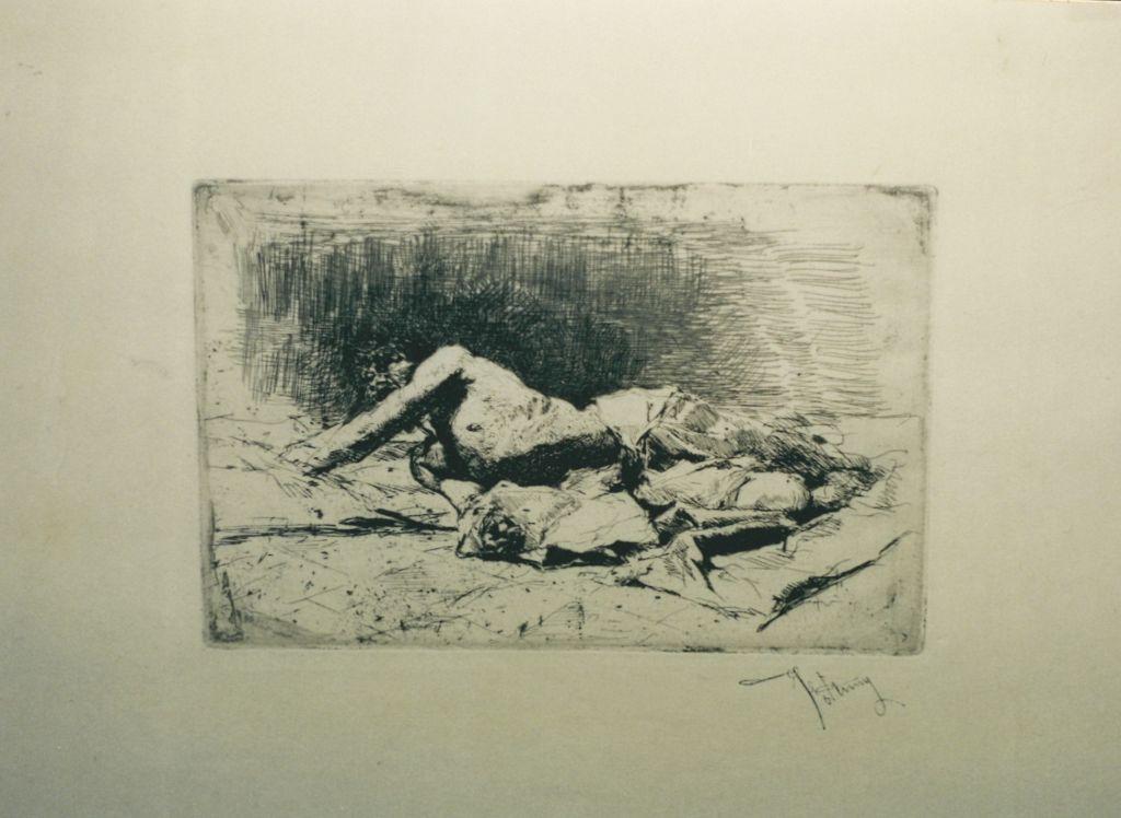 Home estès a terra, Marià Fortuny