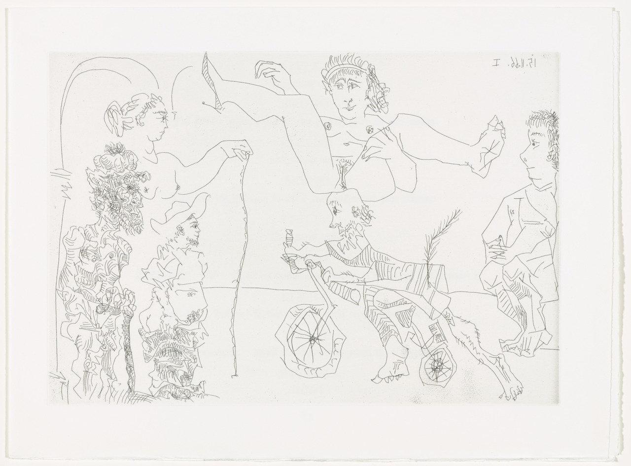 Femme équilibriste enlevée par un vieillard barbu, Pablo Picasso