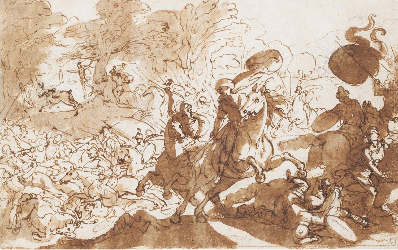 Escena de Batalla Contra els Turcs i Mort de Absalom, Antonio Tempesta, Il Tempestino
