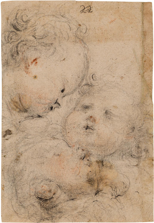 Estudi de tres caps de querubins, Juan Carreño de Miranda