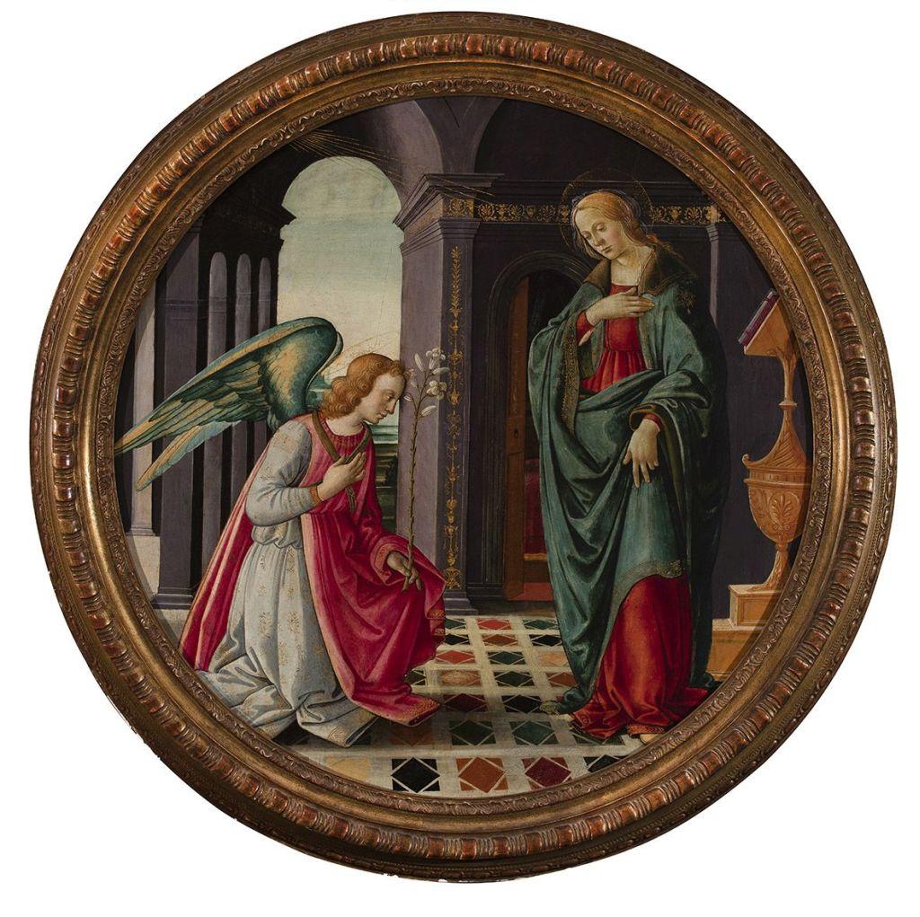 Tondo: La Anunciació, Mestre de la llegenda d'Apollo i Daphne