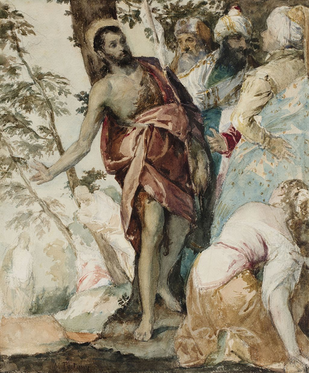 Saint John the Baptist preaching, following Veronese, Marià Fortuny