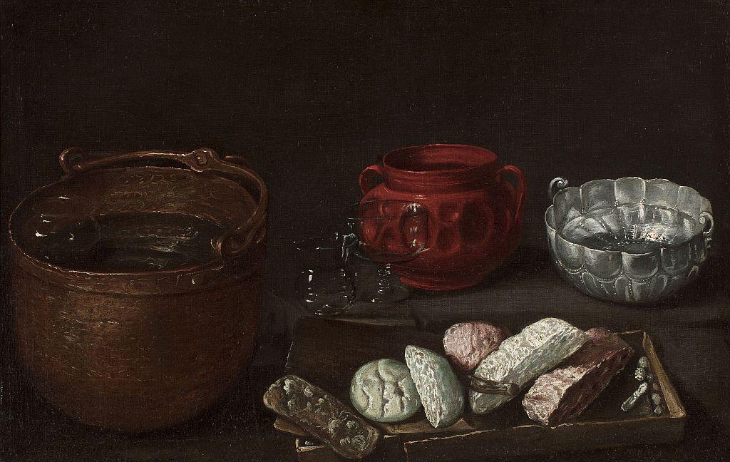 Natura morta amb dolços, copes de vidre, vas de ceràmica de Tonalá, olla metàl·lica i bernegal, Ignacio Arias
