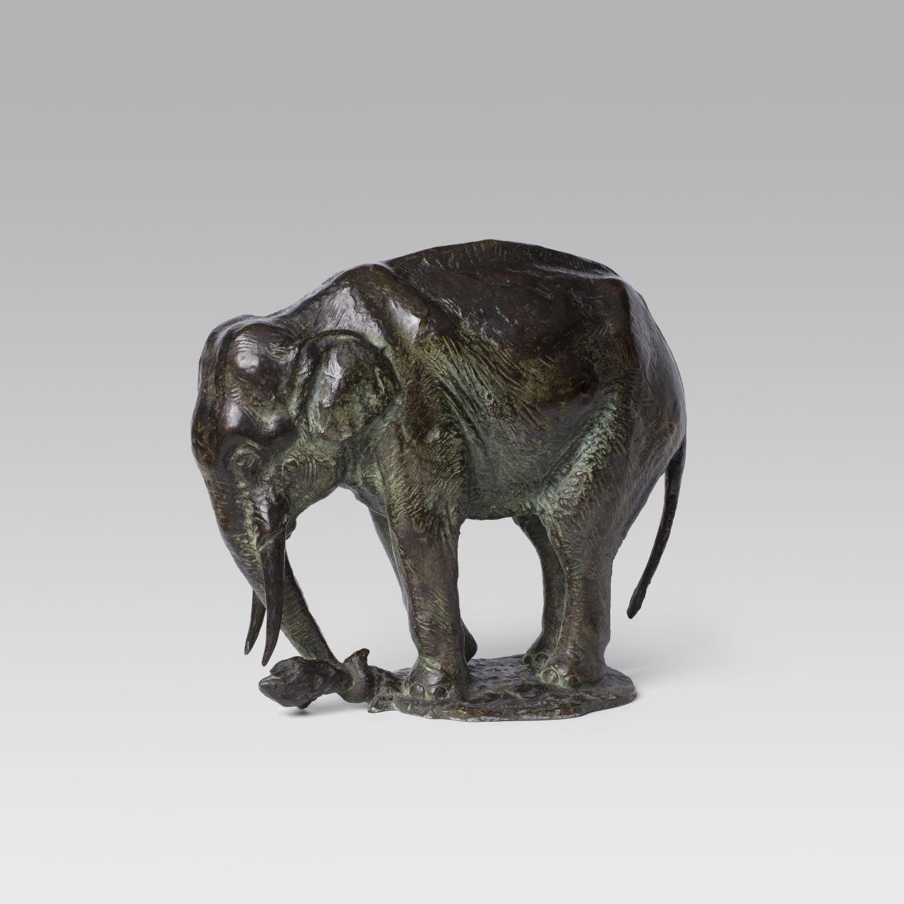 Elefante arrancando un tronco, Gustave Adolphe Hierholtz